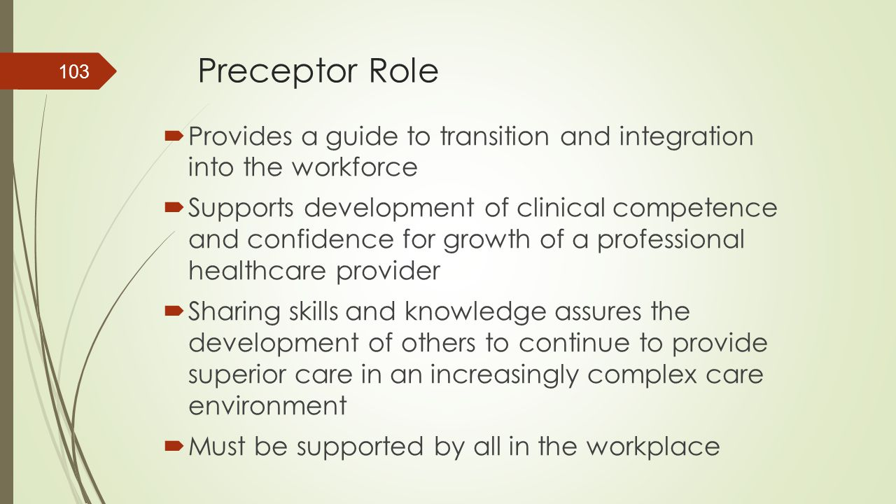 Preceptor Role Provides a guide to transition and integration into the workforce.