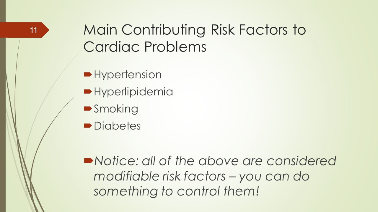 Main Contributing Risk Factors to Cardiac Problems