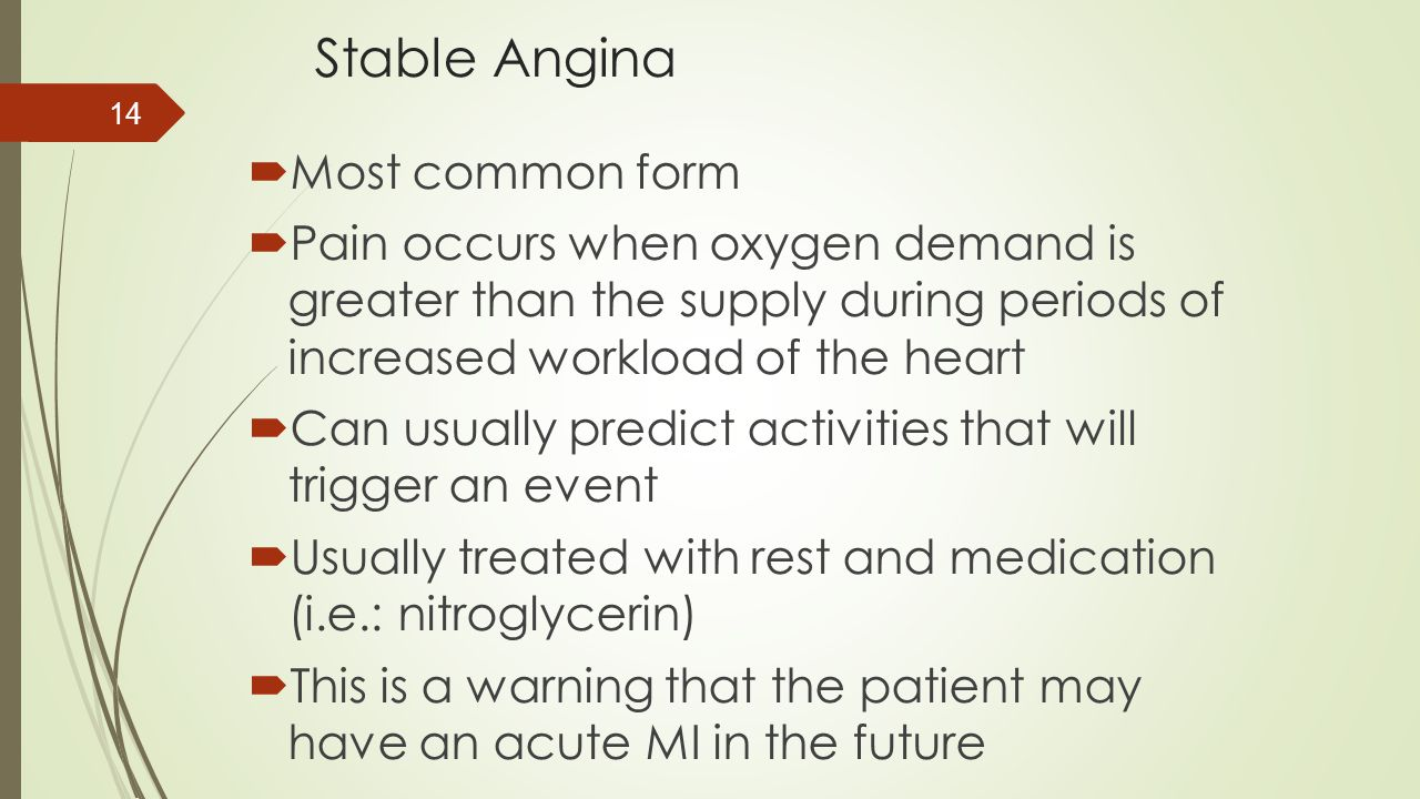 Stable Angina Most common form