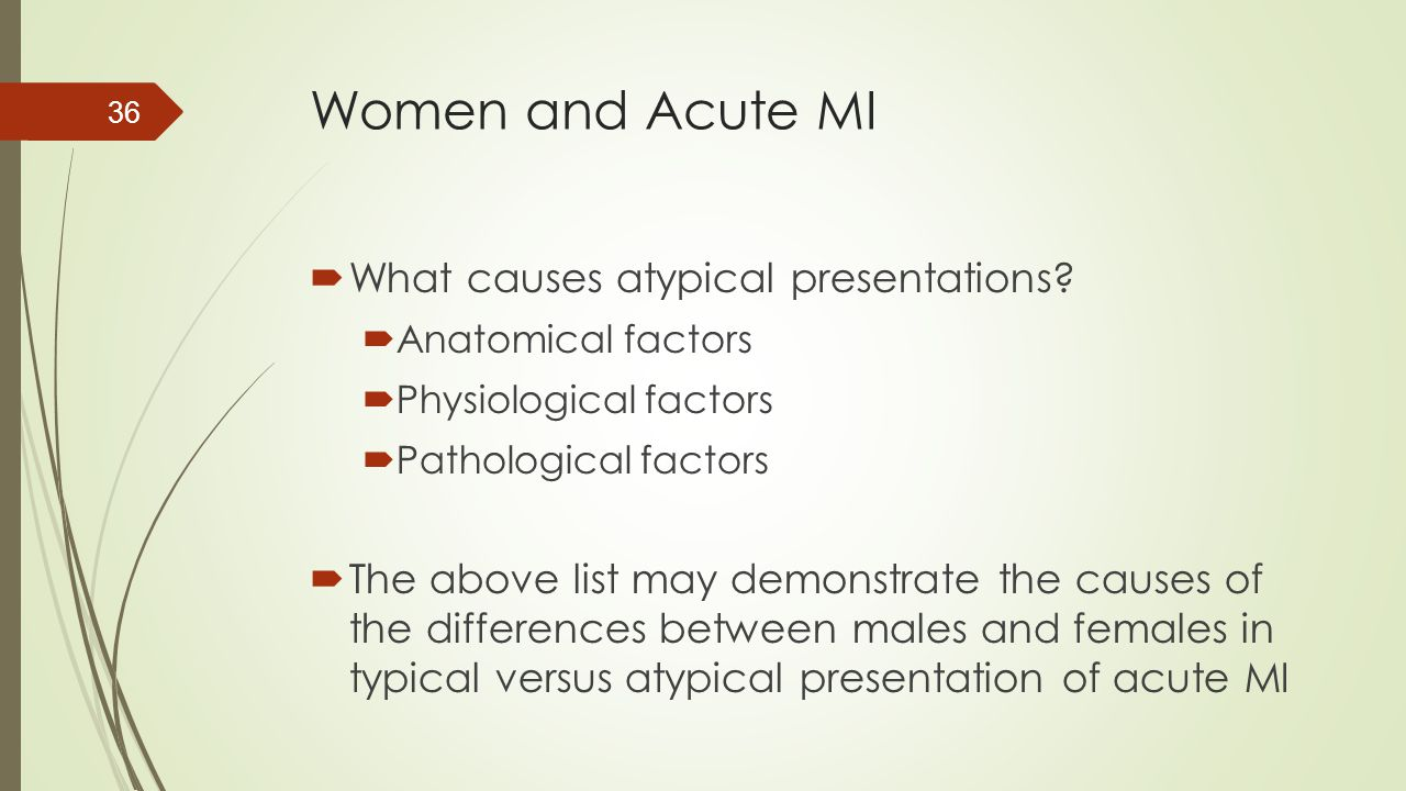 Women and Acute MI What causes atypical presentations