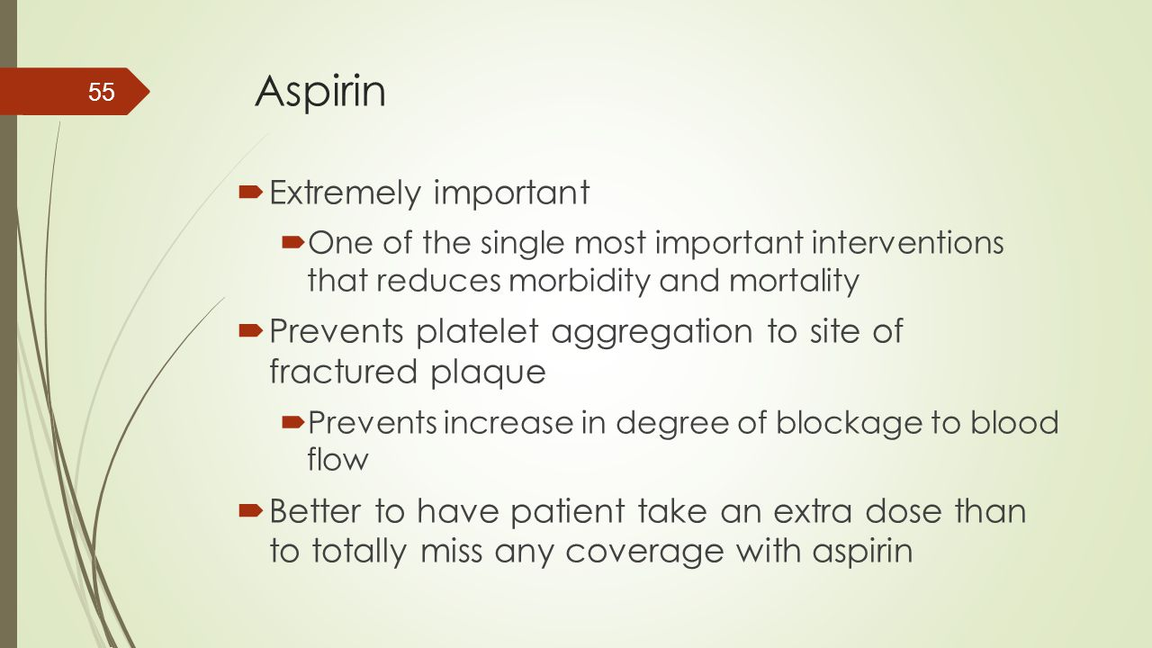 Aspirin Extremely important