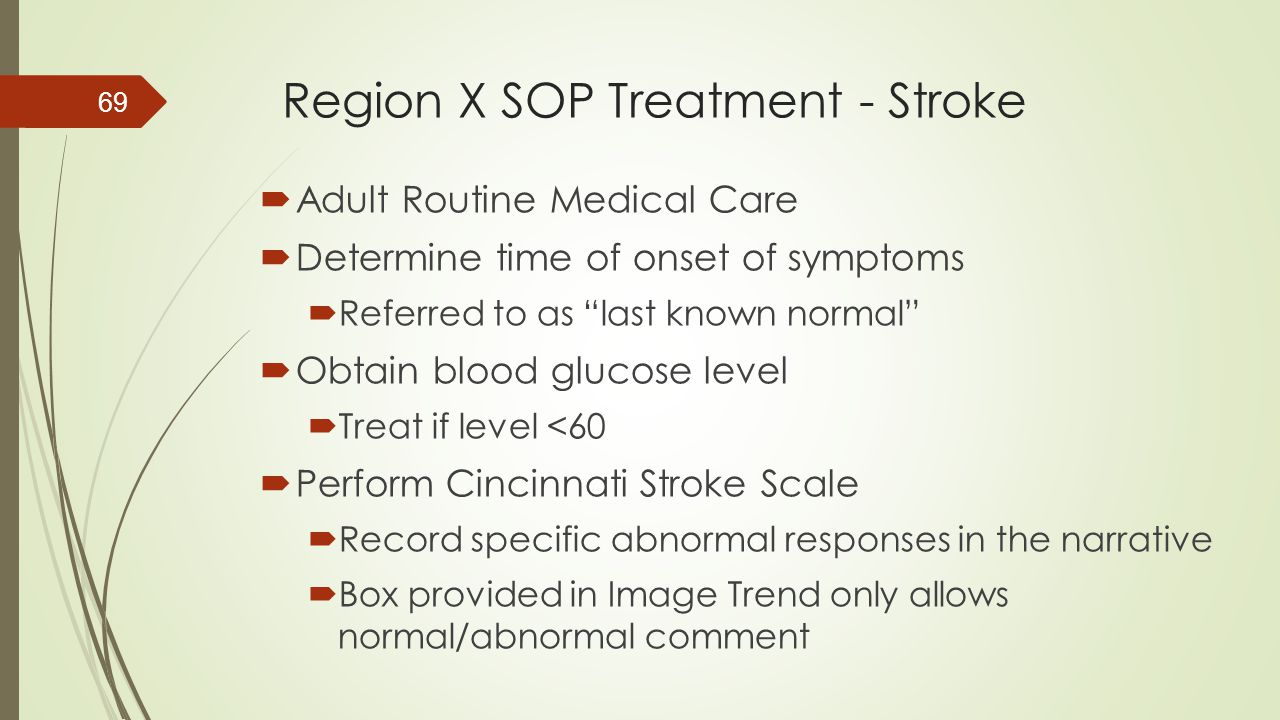 Region X SOP Treatment - Stroke