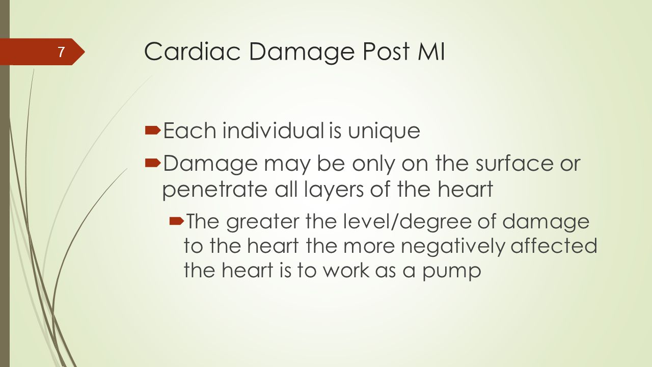 Cardiac Damage Post MI Each individual is unique