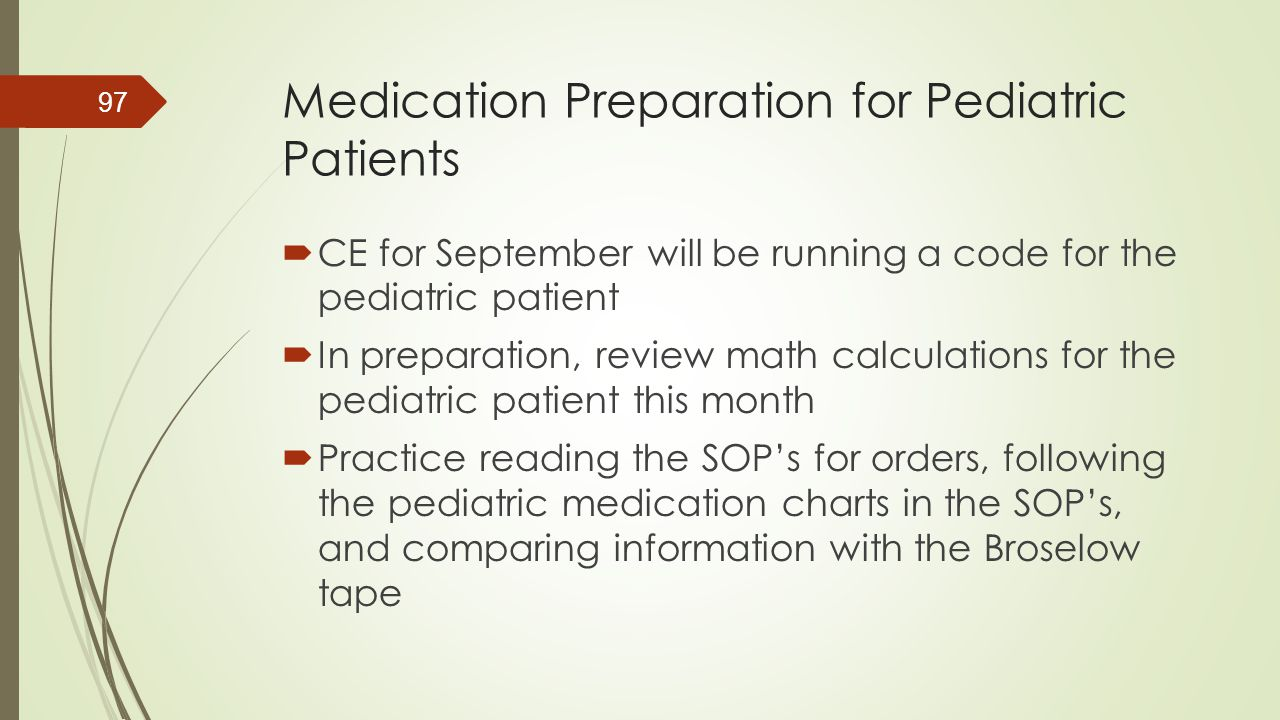 Medication Preparation for Pediatric Patients
