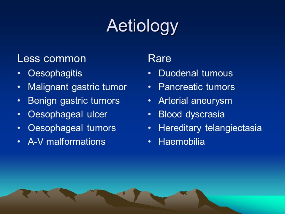 Aetiology Less common Rare Oesophagitis Malignant gastric tumor