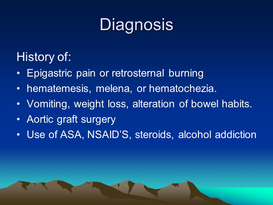 Diagnosis History of: Epigastric pain or retrosternal burning