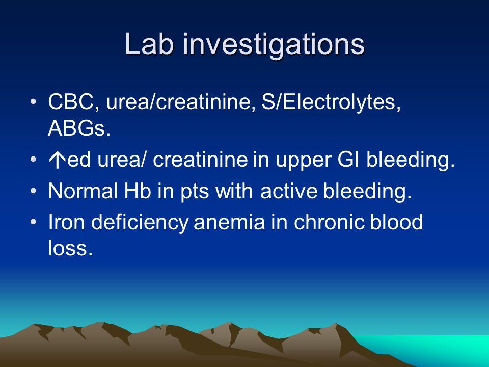 Lab investigations CBC, urea/creatinine, S/Electrolytes, ABGs.