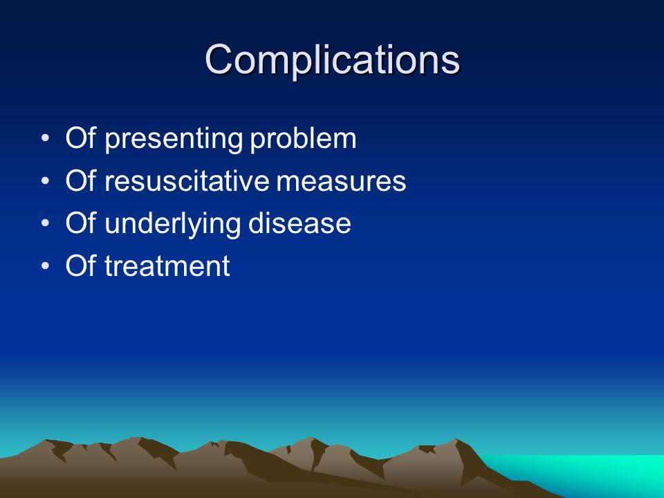 Complications Of presenting problem Of resuscitative measures