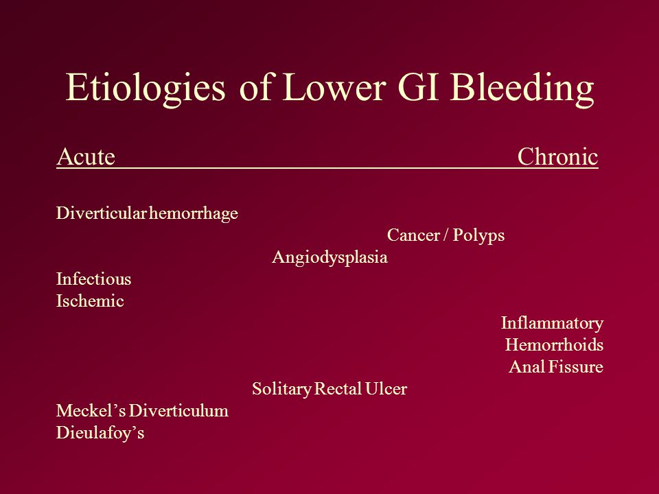 Etiologies of Lower GI Bleeding