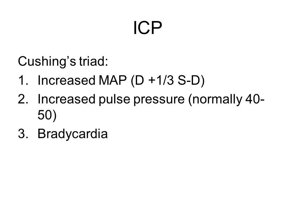 ICP Cushing's triad: Increased MAP (D +1/3 S-D)