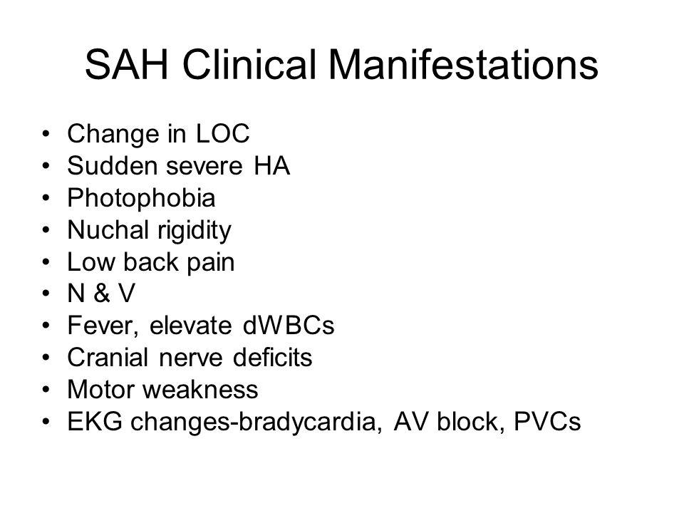SAH Clinical Manifestations