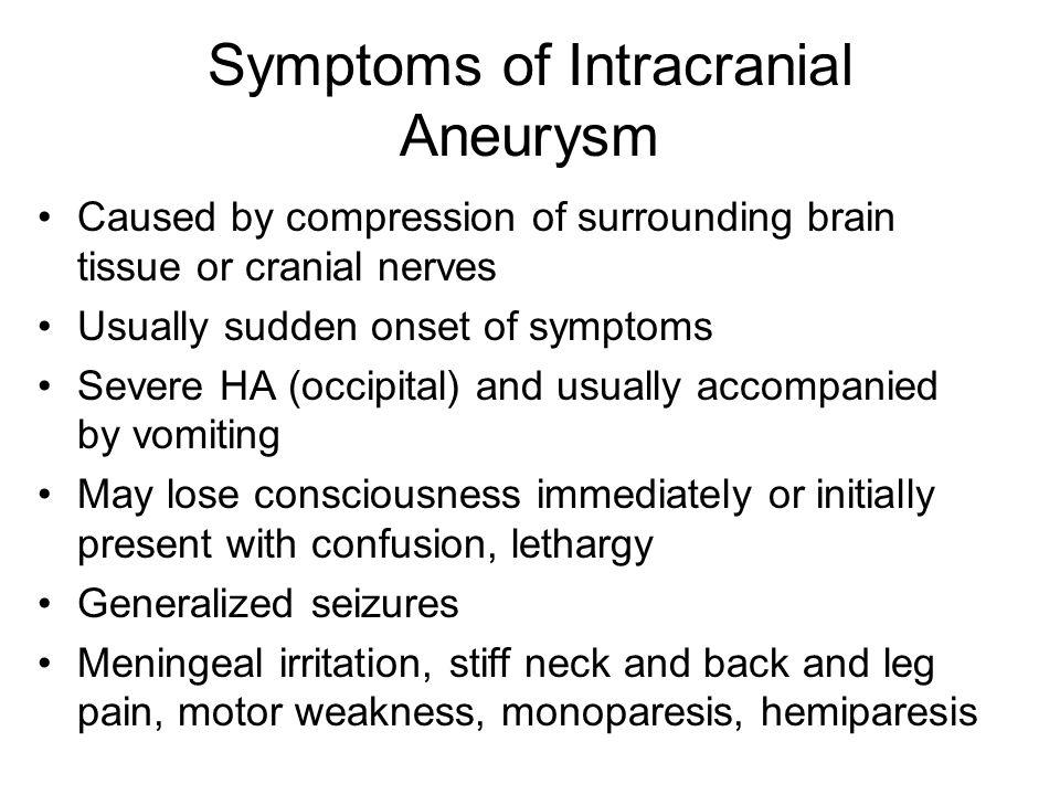 Symptoms of Intracranial Aneurysm