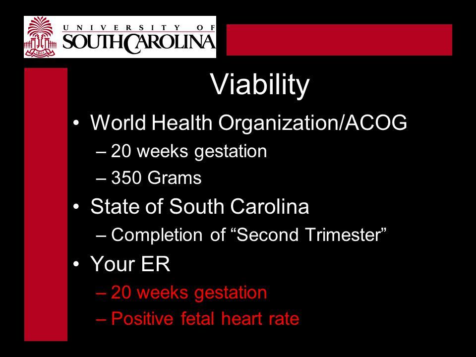 Viability World Health Organization/ACOG State of South Carolina