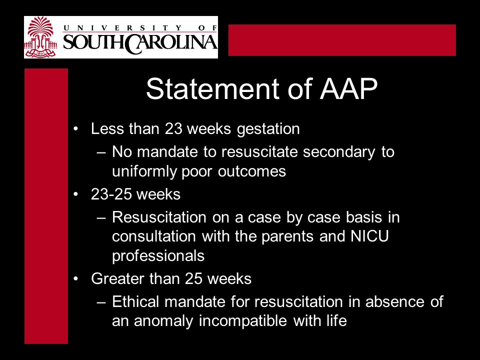 Statement of AAP Less than 23 weeks gestation