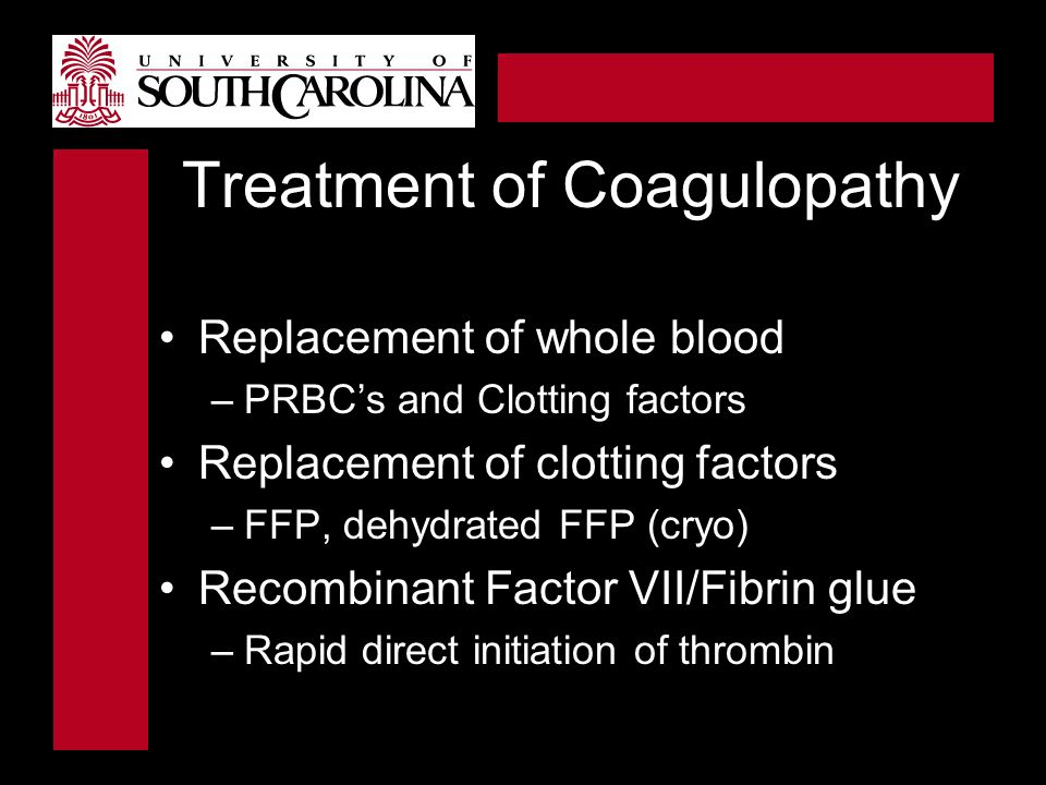 Treatment of Coagulopathy