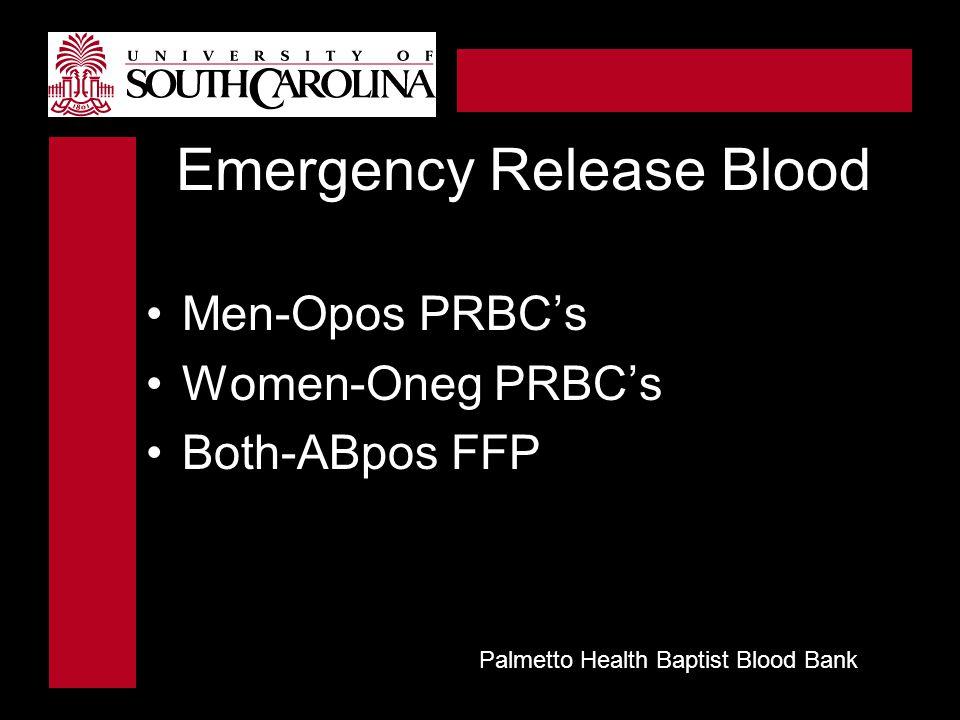 Emergency Release Blood