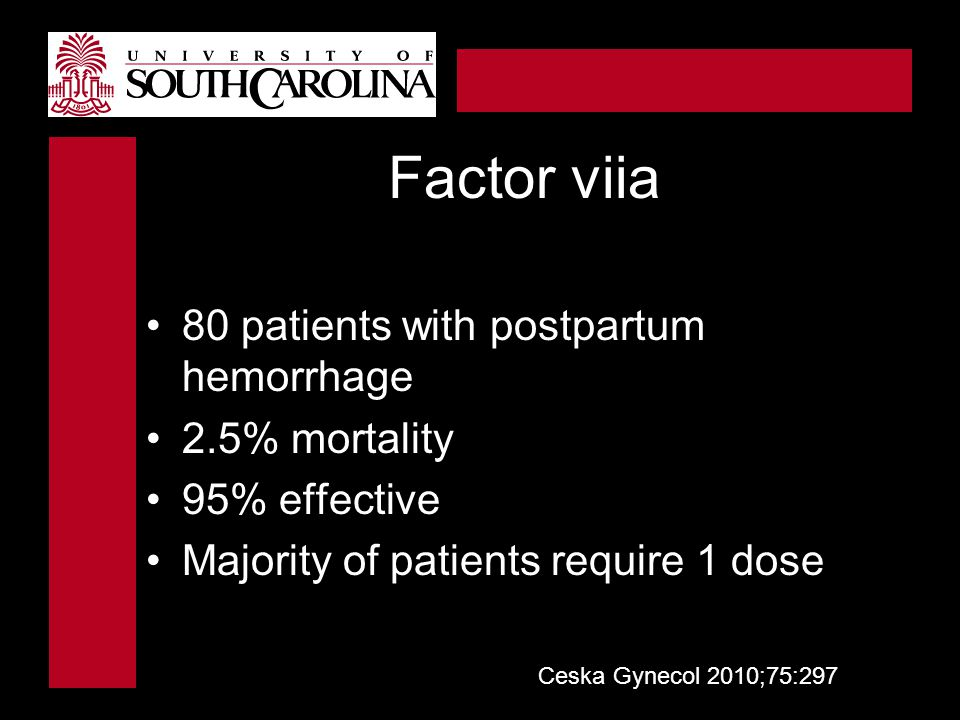 Factor viia 80 patients with postpartum hemorrhage 2.5% mortality