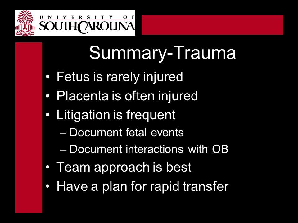 Summary-Trauma Fetus is rarely injured Placenta is often injured