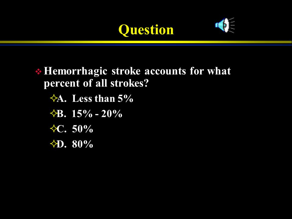 Question Hemorrhagic stroke accounts for what percent of all strokes