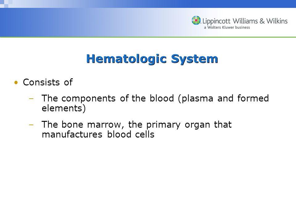 Hematologic System Consists of