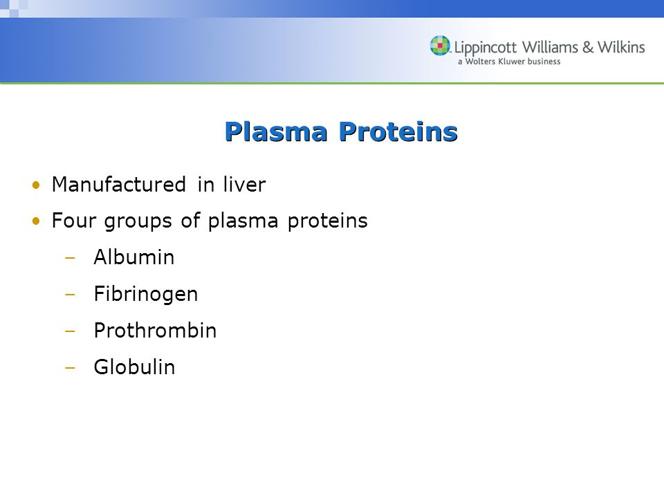 Plasma Proteins Manufactured in liver Four groups of plasma proteins