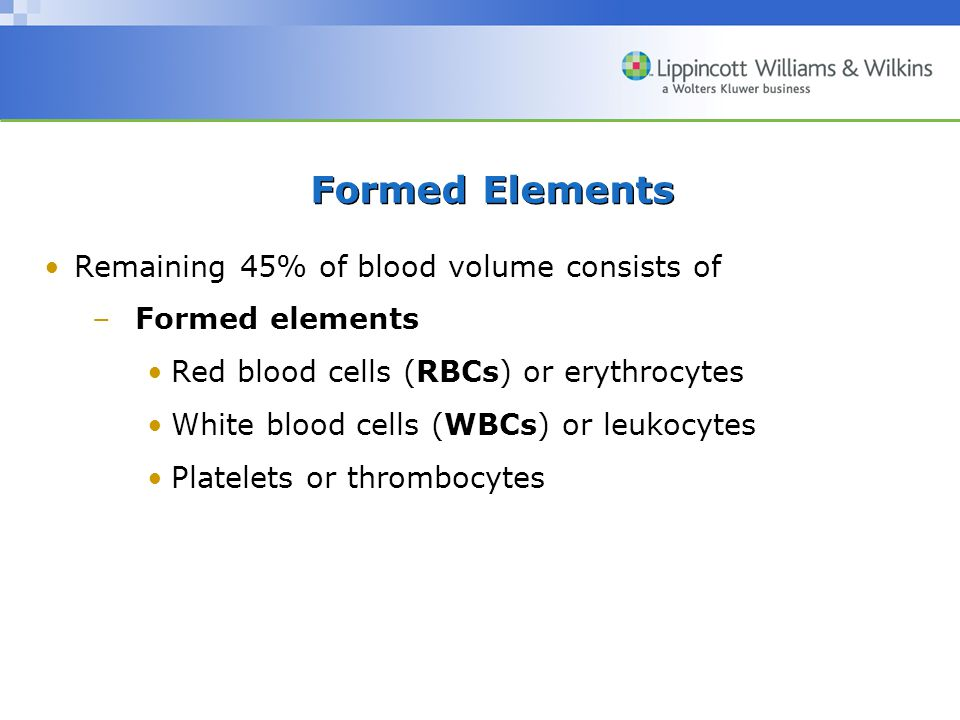 Formed Elements Remaining 45% of blood volume consists of