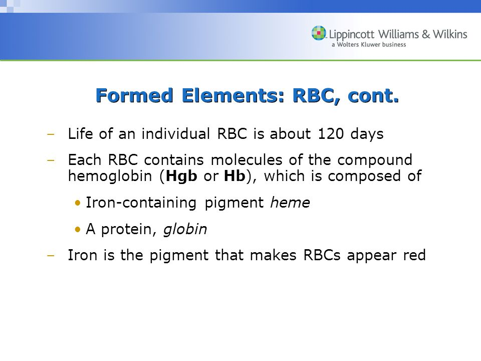 Formed Elements: RBC, cont.