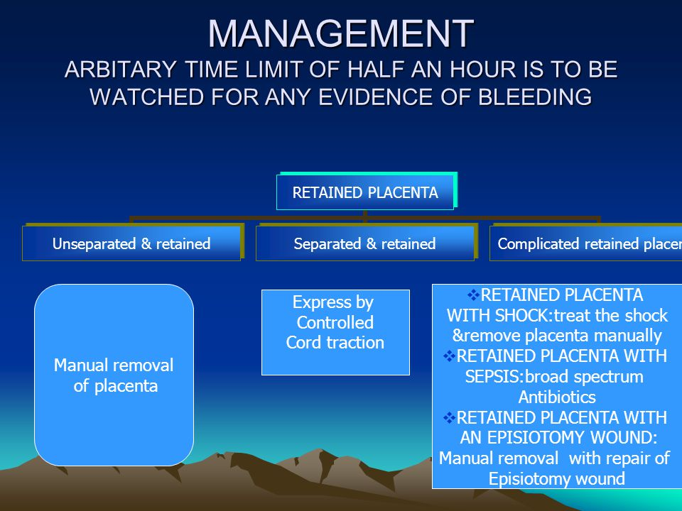 MANAGEMENT ARBITARY TIME LIMIT OF HALF AN HOUR IS TO BE WATCHED FOR ANY EVIDENCE OF BLEEDING