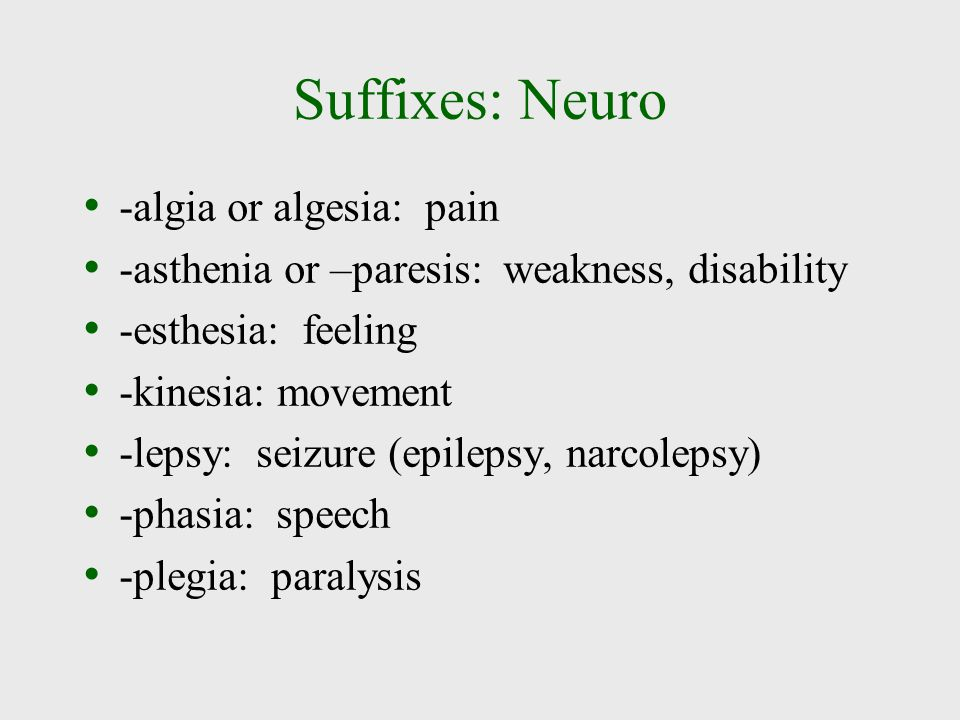 Suffixes: Neuro -algia or algesia: pain