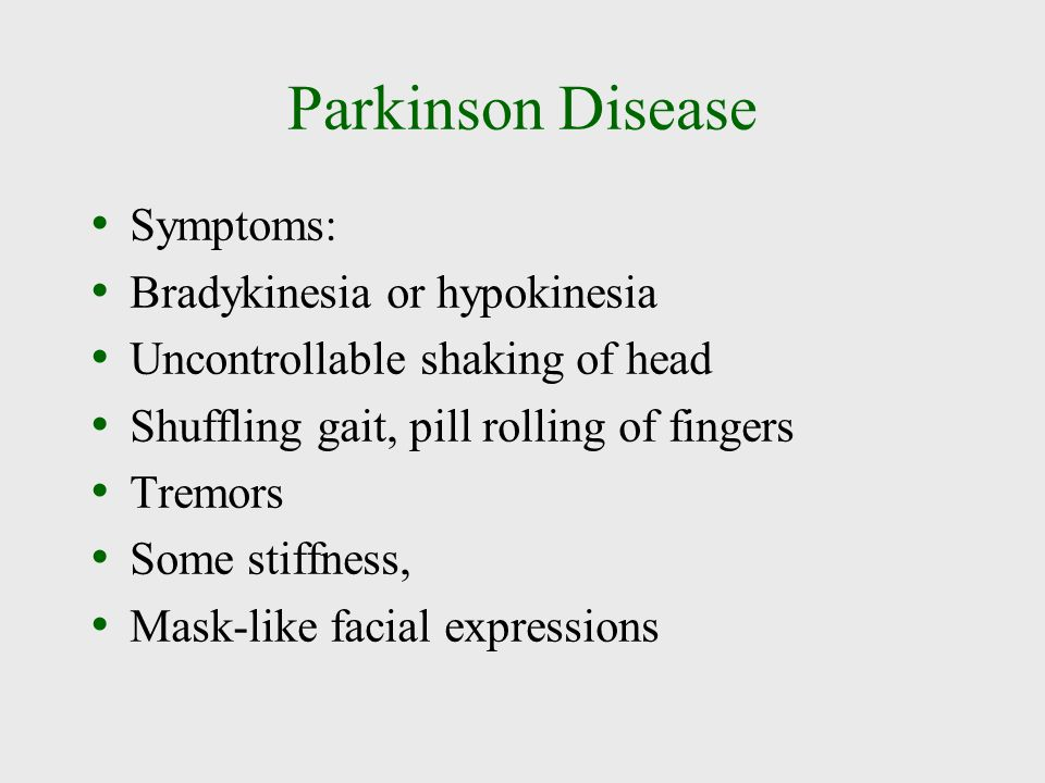 Parkinson Disease Symptoms: Bradykinesia or hypokinesia