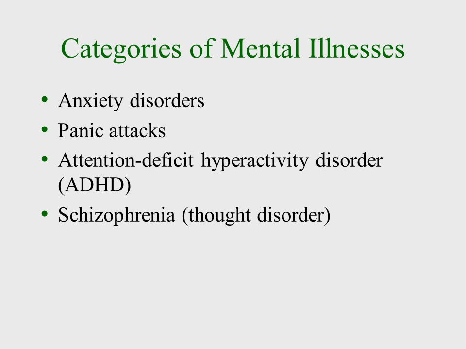 Categories of Mental Illnesses