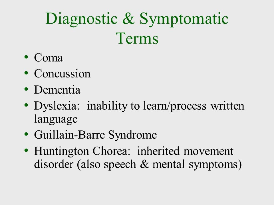 Diagnostic & Symptomatic Terms