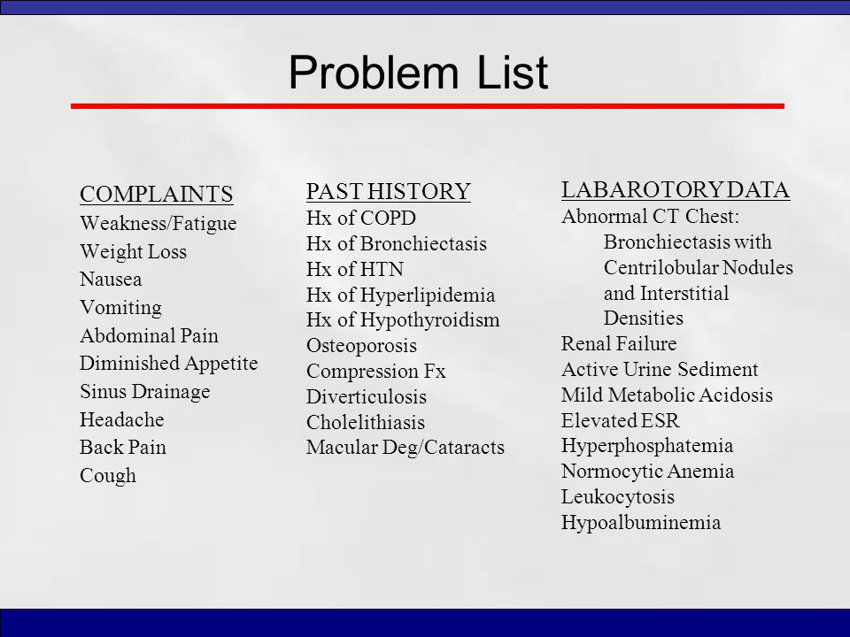 Problem List PAST HISTORY LABAROTORY DATA COMPLAINTS