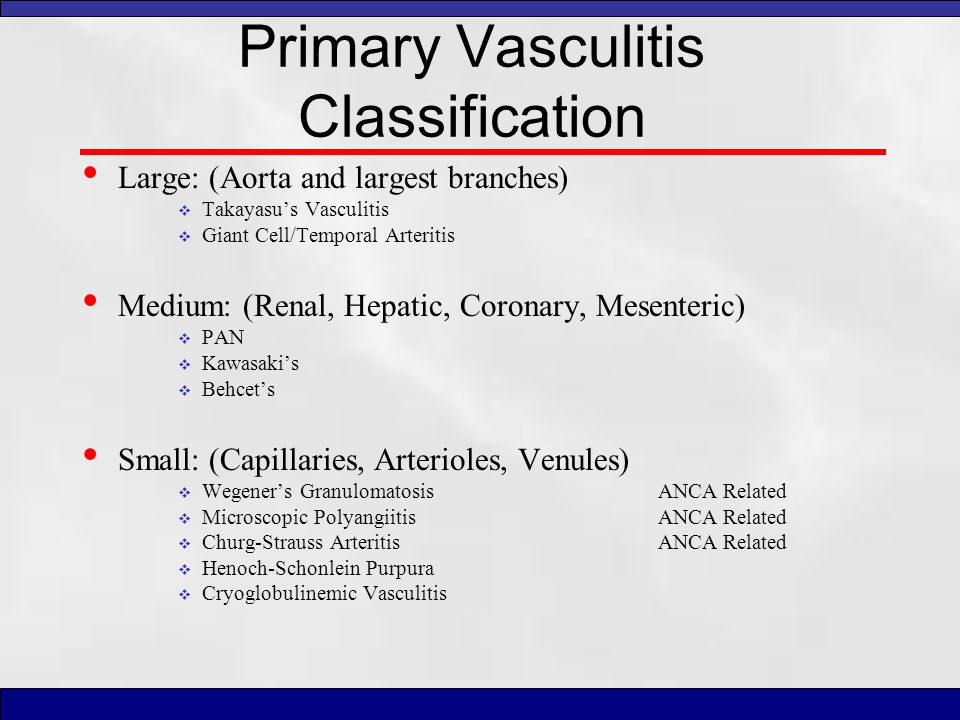 Primary Vasculitis Classification