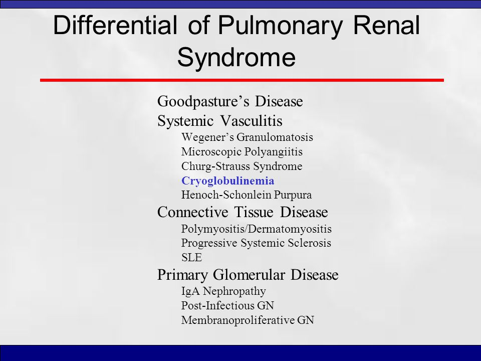 Differential of Pulmonary Renal Syndrome