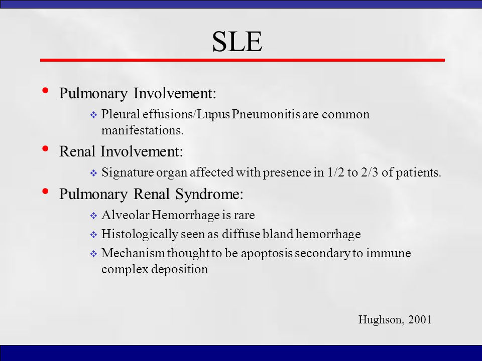 SLE Pulmonary Involvement: Renal Involvement: