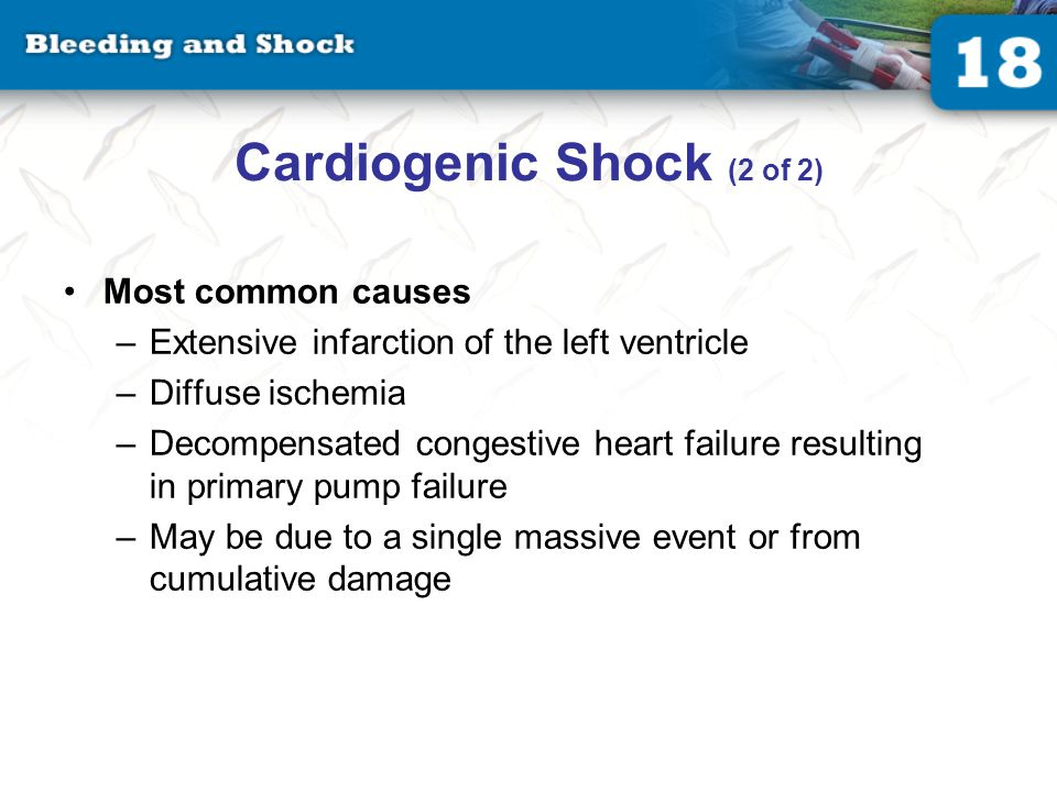 Obstructive Shock Blood flow in the heart or great vessels becomes blocked. Pericardial temponade.