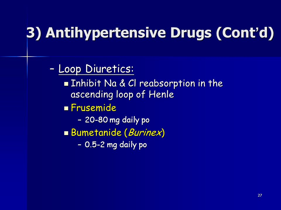 3) Antihypertensive Drugs (Cont'd)