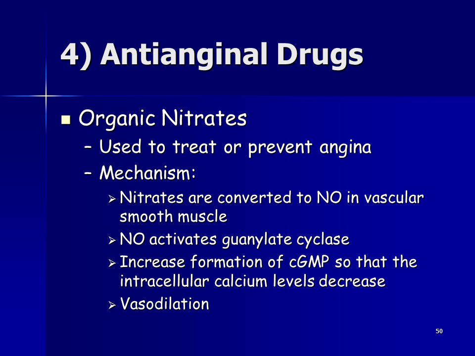 4) Antianginal Drugs Organic Nitrates Used to treat or prevent angina