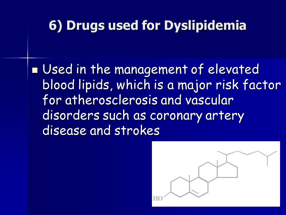 6) Drugs used for Dyslipidemia