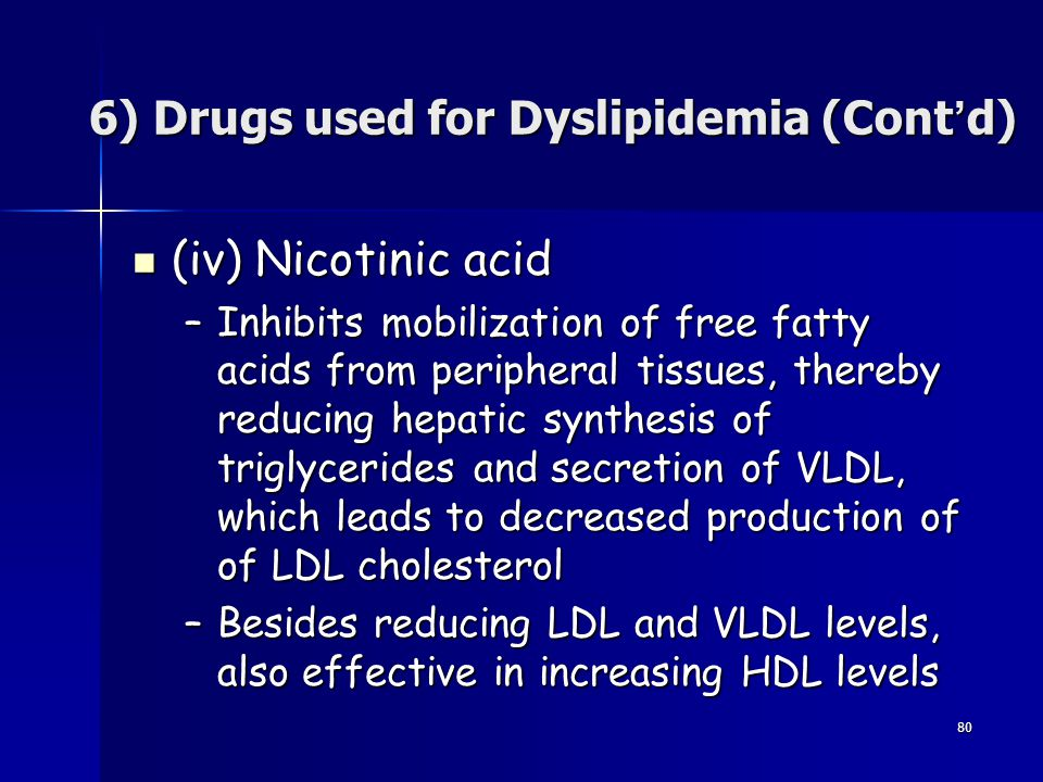 6) Drugs used for Dyslipidemia (Cont'd)
