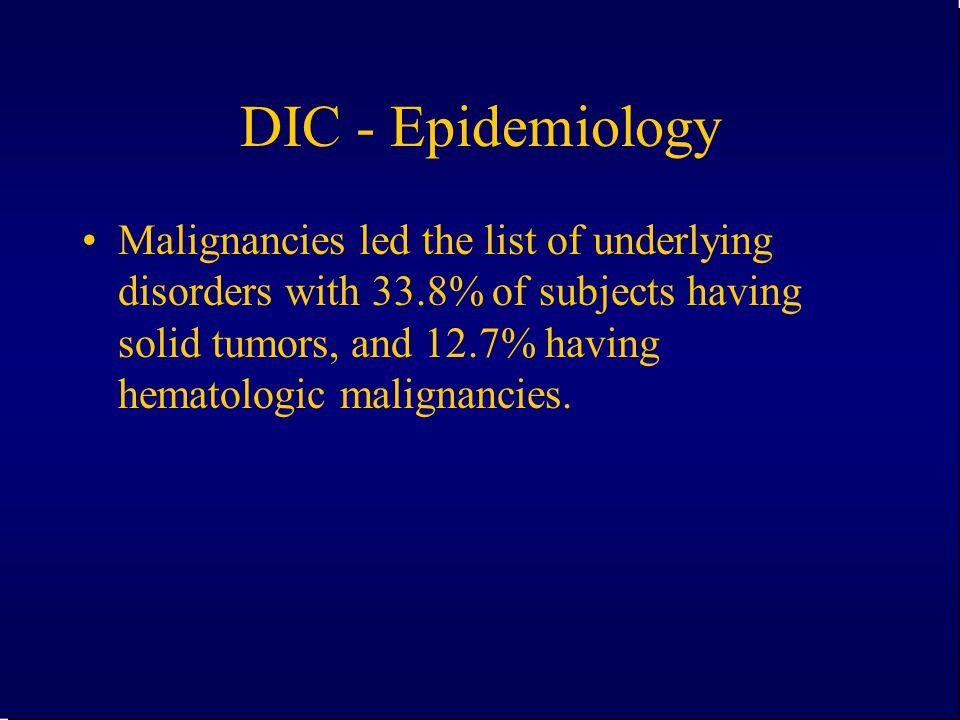 DIC - Epidemiology