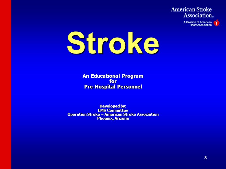 Stroke An Educational Program for Pre-Hospital Personnel Developed by: