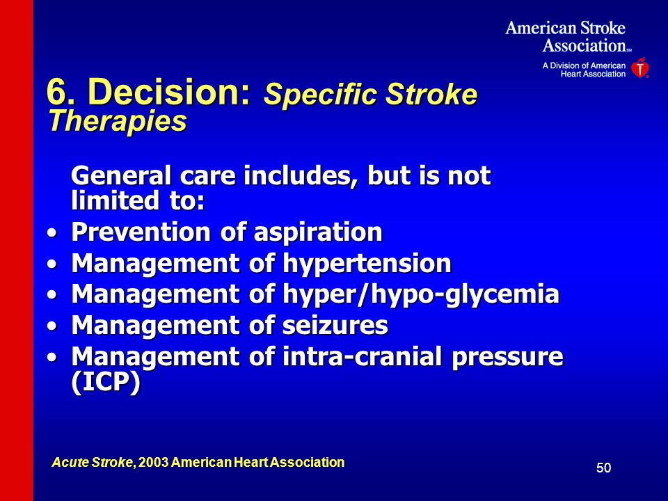 6. Decision: Specific Stroke Therapies