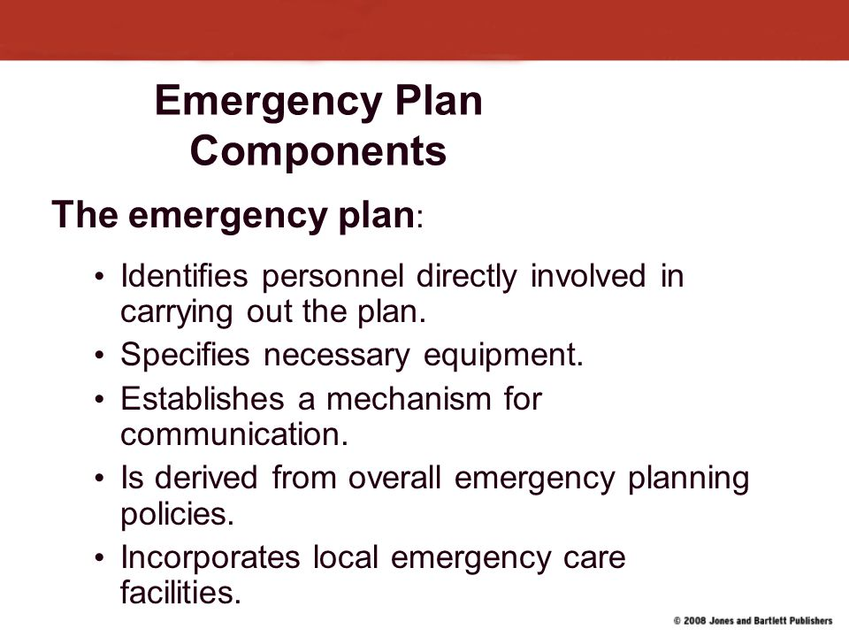 Emergency Plan Components