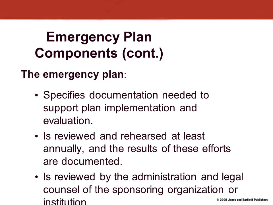 Emergency Plan Components (cont.)