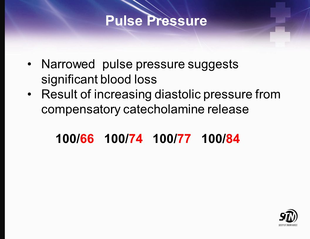 Pulse Pressure Narrowed pulse pressure suggests significant blood loss