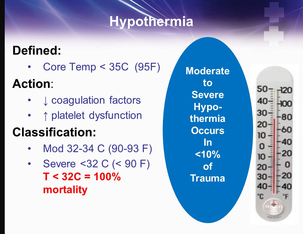 Hypothermia Defined: Action: Classification: Core Temp < 35C (95F)