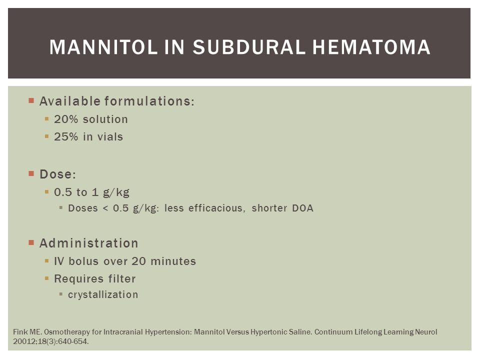 Mannitol in subdural hematoma