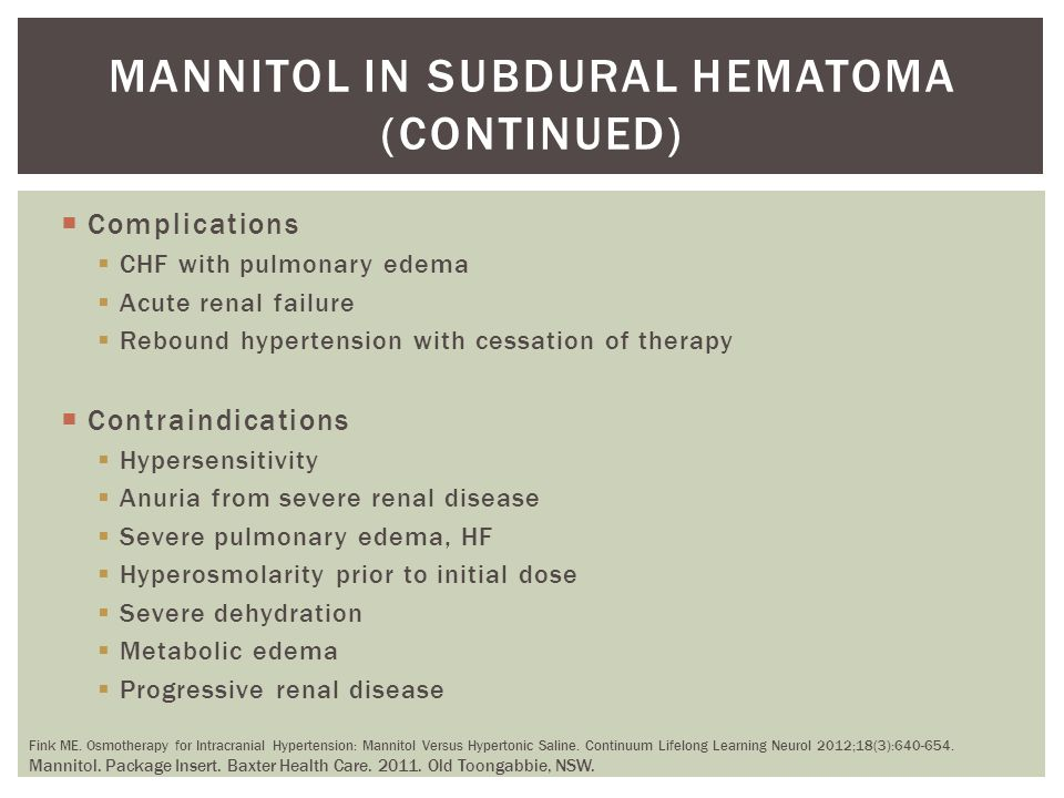 Mannitol in subdural hematoma (continued)